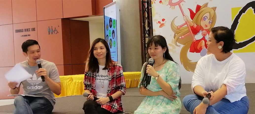 Our emcee and speakers, Clio Hui, Yeo Hui Xuan, and Shen Jiahui