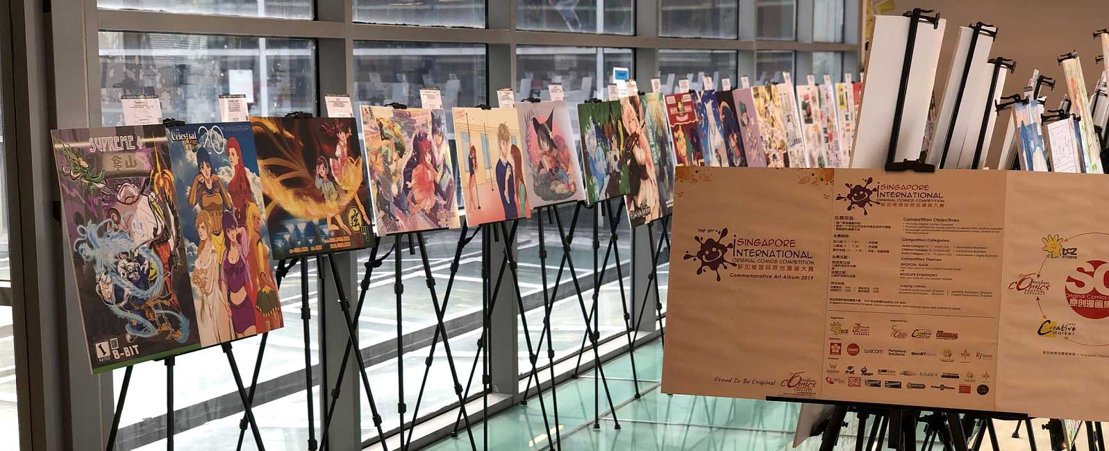 Artworks exhibited by local original comic artists and creators。